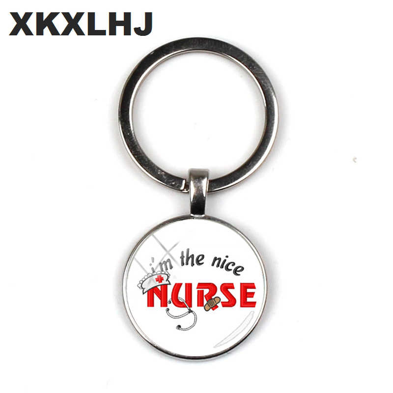XKXLHJ 2018 Moda EU sou A Enfermeira Simpática Cabochon De Vidro Chaveiro Enfermagem Engraçado Chaveiro Chave Anéis de Mulheres de Vidro de Prata