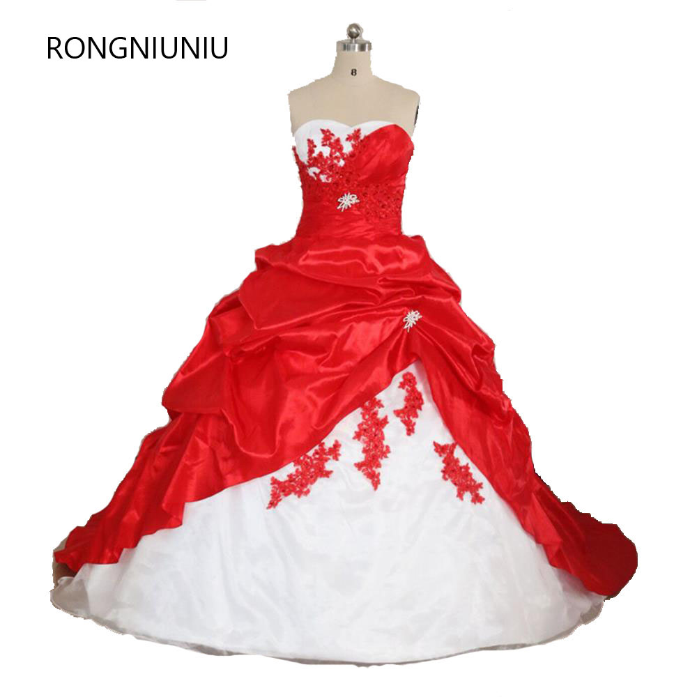 2019 Free Shipping Red And White Sweetheart Wedding Dress Ruched Ball Gown Off The Shoulde Sleeveless