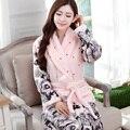 Primavera 2017 novo senhora solto vestido de flanela robes início sono encabeça grande tamanho