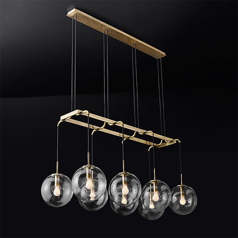 American Retro RH Loft Straight Led Chandelier Gold/Black Metal Glass Globes Shades Pendant Chandelier Lighting Fixtures