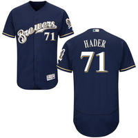 MLB Men S Milwaukee Brewers Josh Hader Jersey 71 Majestic White Navy Gray Collection Flex Base