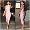 2016 nude Black Red orange high neck rayon  burgundy bandage dress summer women Sexy evening Party Bodycon dresses wholesale