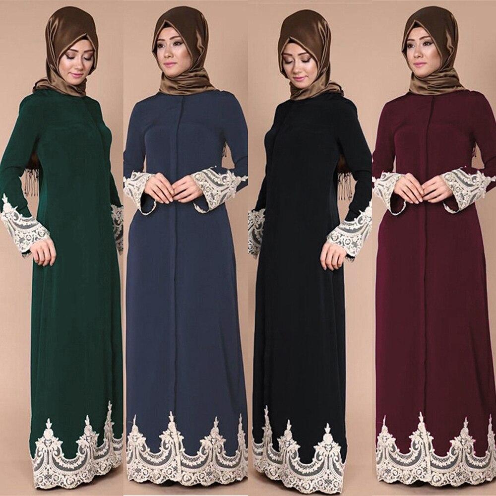 Lace Muslim Dress Floral Abayas For Women Elegant Long Soft Turkish Islamic Robes Women's Clothing Prayer Garments