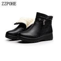 ZZPOHE 2017 La Moda de Invierno Zapatos de cuero genuino de las mujeres botines planos Ocasionales Cómodos Mujer Caliente botas de Nieve Botas de envío gratis