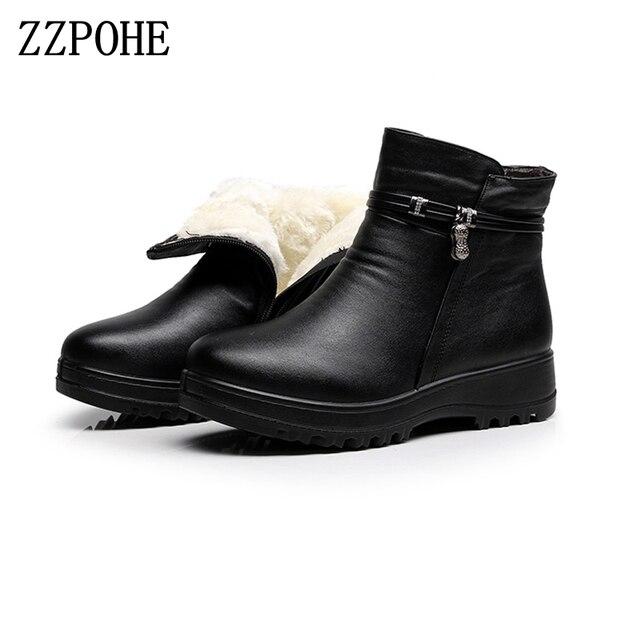 ZZPOHE 2017 zapatos de invierno a la moda de cuero genuino de las mujeres botas planas de tobillo Casual cómodo cálido mujer botas de nieve envío gratis