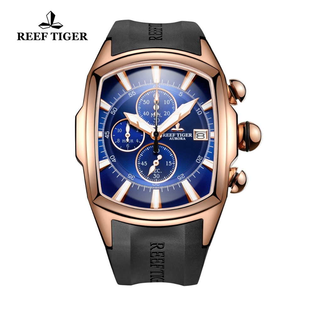 Reef Tiger/RT Top Brand Luxury Sport Watch for Men Rose Gold Blue Dial Professional Stop Watches Waterproof RGA3069-T 機械 式 腕時計 スケルトン