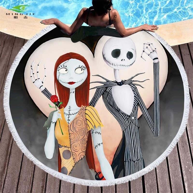 Sommer Runden Strandtuch Mikrofaser Großes Badetuch für Erwachsene Kind Nightmare Before Christmas Gedruckt Toalla Quaste Tapisserie