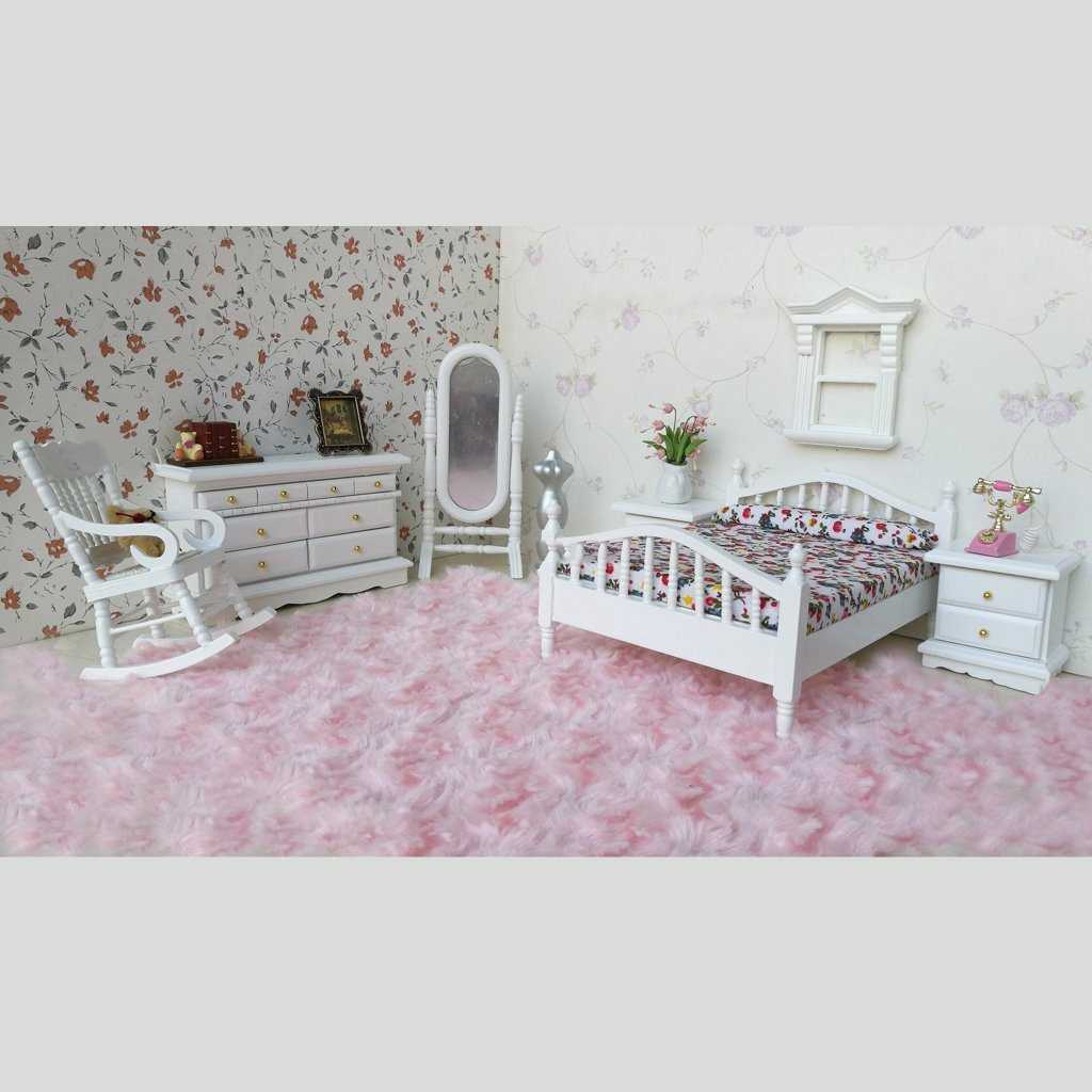 ABWE Best Sale 1: 12 Dollhouse Miniature White Wooden Bedroom Furniture Bed Dresser Mirror