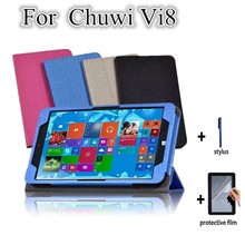 VI8 Folding Folio Ultra Thin Tablet Stand Case For Chuwi vi8 8.0 Win8 Tablet PC Flip Stand Leather Cover Case +screen protectors