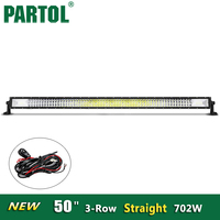Partol New 50 Inch LED Light Bar 3 Row Straight 702W Offroad 4x4 ATVs SUV Truck