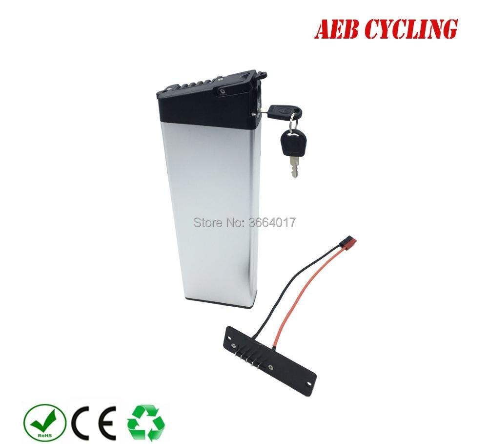 EU US free envío y los impuestos batería plegable de la bici 36 V 10Ah tubo interior batería de iones de litio plata batería para la bici de la ciudad