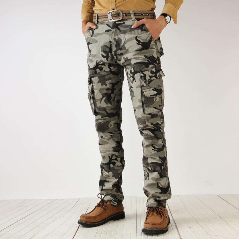 2017 seluar kargo penyamaran lelaki lelaki tentera hijau pelbagai poket tempur kasual kapas longgar seluar lurus lelaki mudah seluar cuci