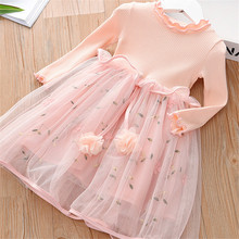 2019 New Autumn Spring Girls Princess Dress Baby Knit Top Mesh Embroidery Ball Gown Long Sleeve Girl Party Dress Kids Clothes spring autumn cute baby kids girls party dress kids clothes cotton toddler girl clothing long sleeve baby girl princess dress