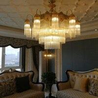Large Led Crystal Chandelier Lighting Copper Modern Luxury K9 Crystal Chandeliers Lustre Living Room Lobby Hotel Dining Room
