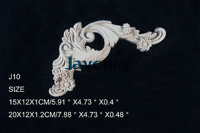 J10- 15x12x1cm Wood Carved Corner Onlay Applique Unpainted Frame Door Decal Working Carpenter Flower