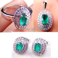 925 Silver Jewelry sets Emeral Jewelry Color fully stone DR0301263S g Free Shipping