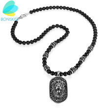 Boniskiss Punk Gothic Lion Dog Tag Stainless Steel Pendants Black Beads Statement Necklace For Men Jewelry