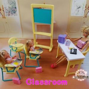 Image 1 - חדש אופנה בכיתה כיסאות + לוח מתנת סט בובת אביזרי ריהוט בית בובות ברבי בובת תינוק בנות DIY צעצועים
