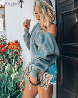 Pull Femme Oversized Sweater Top Knitted Romper 2018 Women Pullovers and Sweaters Autumn Open Back Long Sleeve Street Pullovers