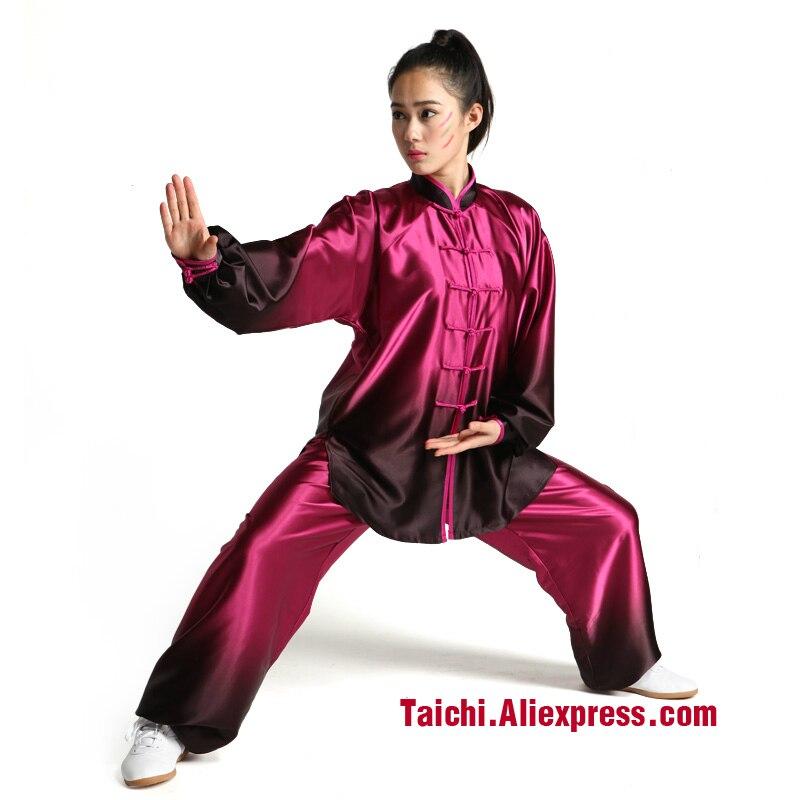 Manches longues tai chi vêtements couleur dégradé Kungfu Vêtements costume et Taijiquan vêtements d'arts martiaux Uniforme Kung Fu