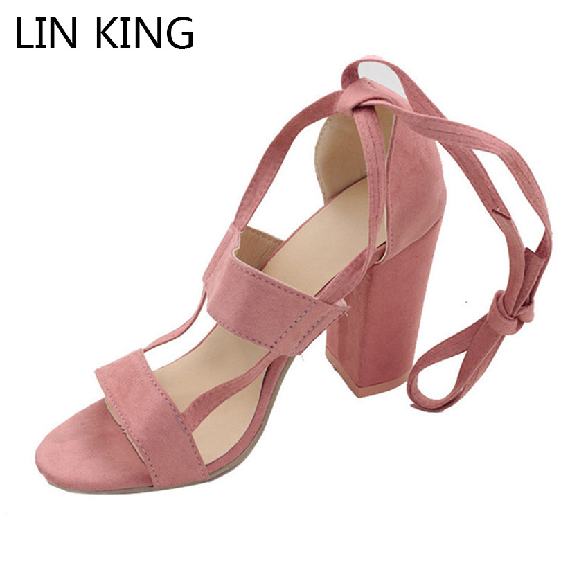 LIN KING Fashion Flock Square Heel Women Sandals Cross Tie Ankle Peep Toe High Heel Shoes Woman Summer Office Work Sandalias xiaying smile woman sandals summer square cover heel closed toe woman pumps buckle strap fashion casual hollow flock women shoes
