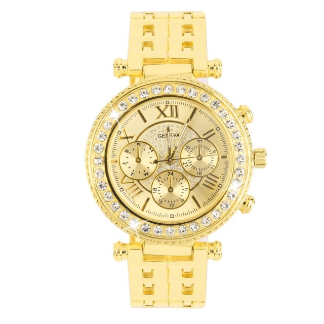 OUTAD Men Women Rhinestone Dial Net Steel Band Wrist Watch Quartz Watch Gift Wat
