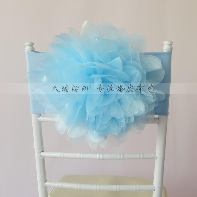 Baby Blue Chair Covers Beach For Sale Flower Organza Sash Free Shipping Band Chiavari Cover