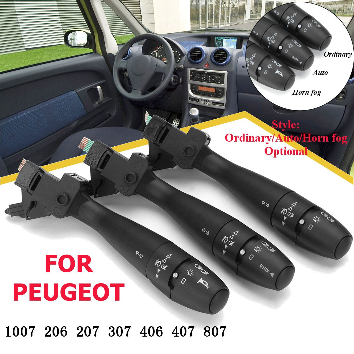 Araba dönüş sinyali göstergesi anahtarı direksiyon kolonu boynuz oto 96477533XT için PEUGEOT 1007 206 207 307 406 407 807