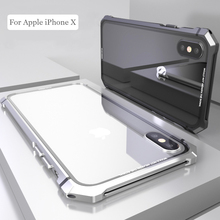 For iPhone X 7 8 Plus Case for iPhone 11 Pro Max Black Protective Aircraft Bumper Metal Screw Cell Phone Case with Transparent Back Tempered Glass