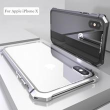 Iphone × 7 8 プラスケース iphone 11 プロマックス黒保護航空機バンパー金属ネジ携帯電話透明なバック強化ガラス