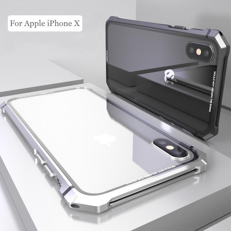 Per iPhone X 7 8 Plus Custodia Nera Protettiva Aeromobili Vite del respingente del Metallo Caso di Telefono Cellulare con Fondello Trasparente Temperato vetro