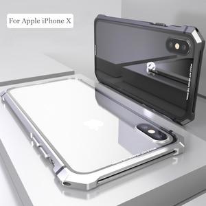 Image 1 - آيفون X 7 8 Plus حقيبة لهاتف أي فون 11 برو ماكس الأسود واقية الطائرات الوفير المعادن برغي هاتف محمول مع شفاف عودة الزجاج المقسى