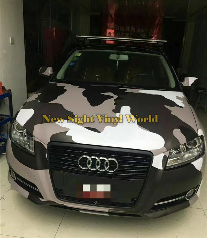 Black White Grey Jumbo Arctic Snow Camouflage Vinyl Wrap Film Roll Bubble Free For JEEP SUV TRUCK