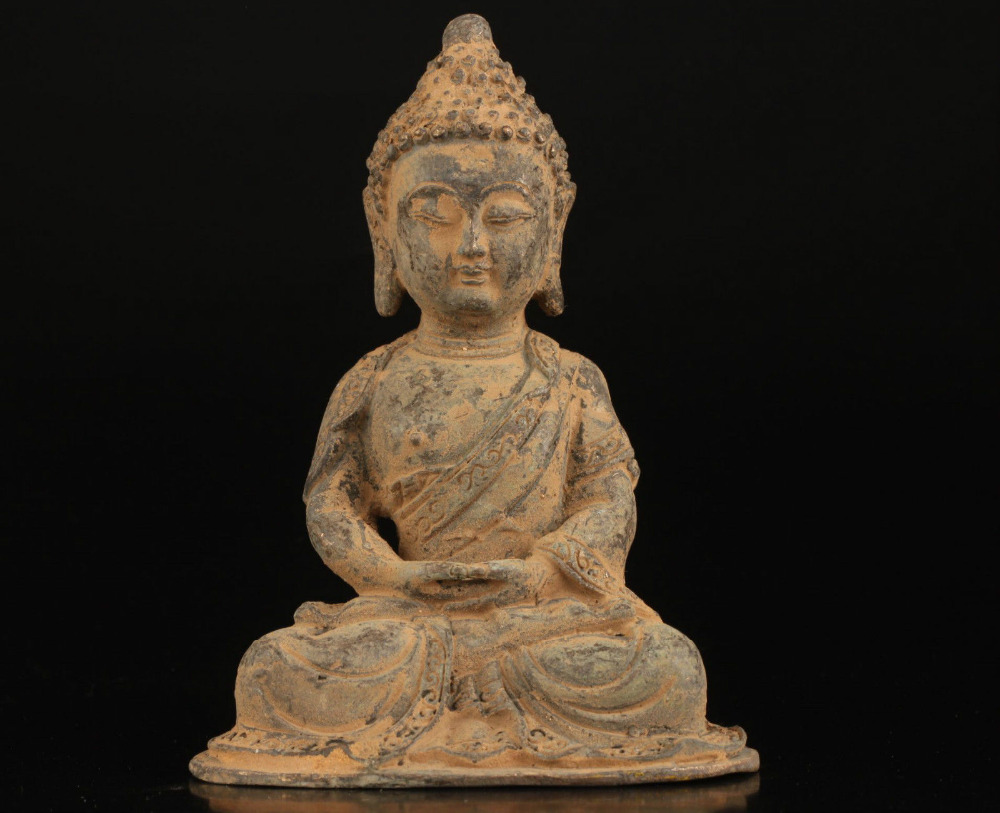 Collectable Vintage Old Bronze Casting Worship Amitabha Buddha Statue