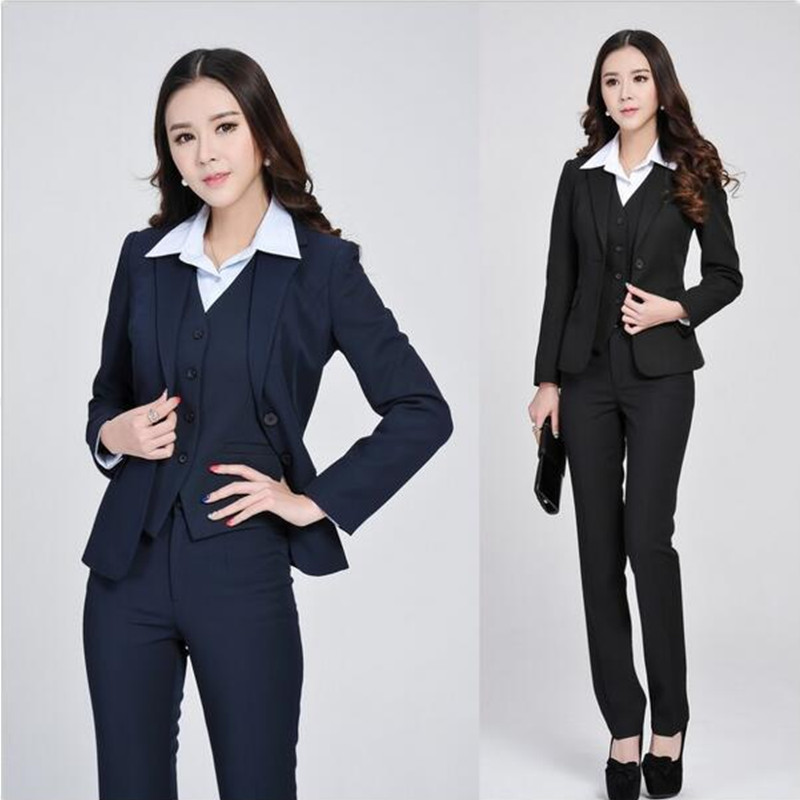 2-1 Formal Women Business Suits with Pant + Blazer + Vest 3 Piece Set New 2017 Spring Winter Fashion Ladies Work Office Uniforms