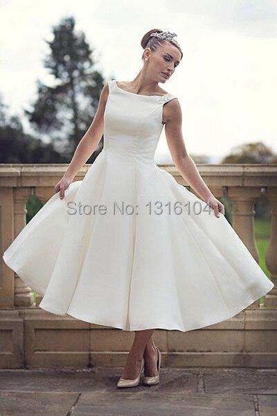 2019 Cheap Simple Boat Neck Ball Gown Satin Sleeveless Short Tea Length Reception Women Second Wedding Bridal Wedding Dresses Weddings & Events