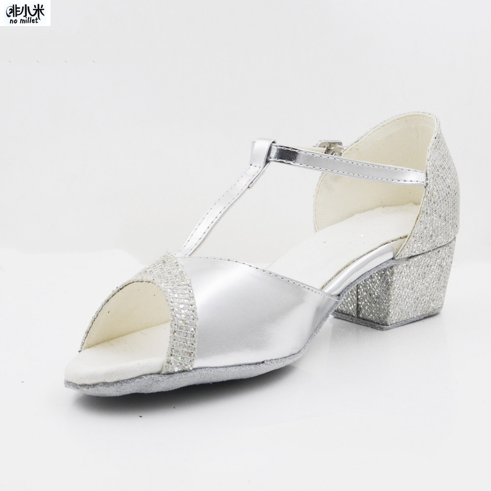 New Women's Latin Dance Shoes Ballroom Tango Ladies Girls Comfortable Satin Dancing Shoes For Women Grils Silver 3CM Heel Shoes(China)