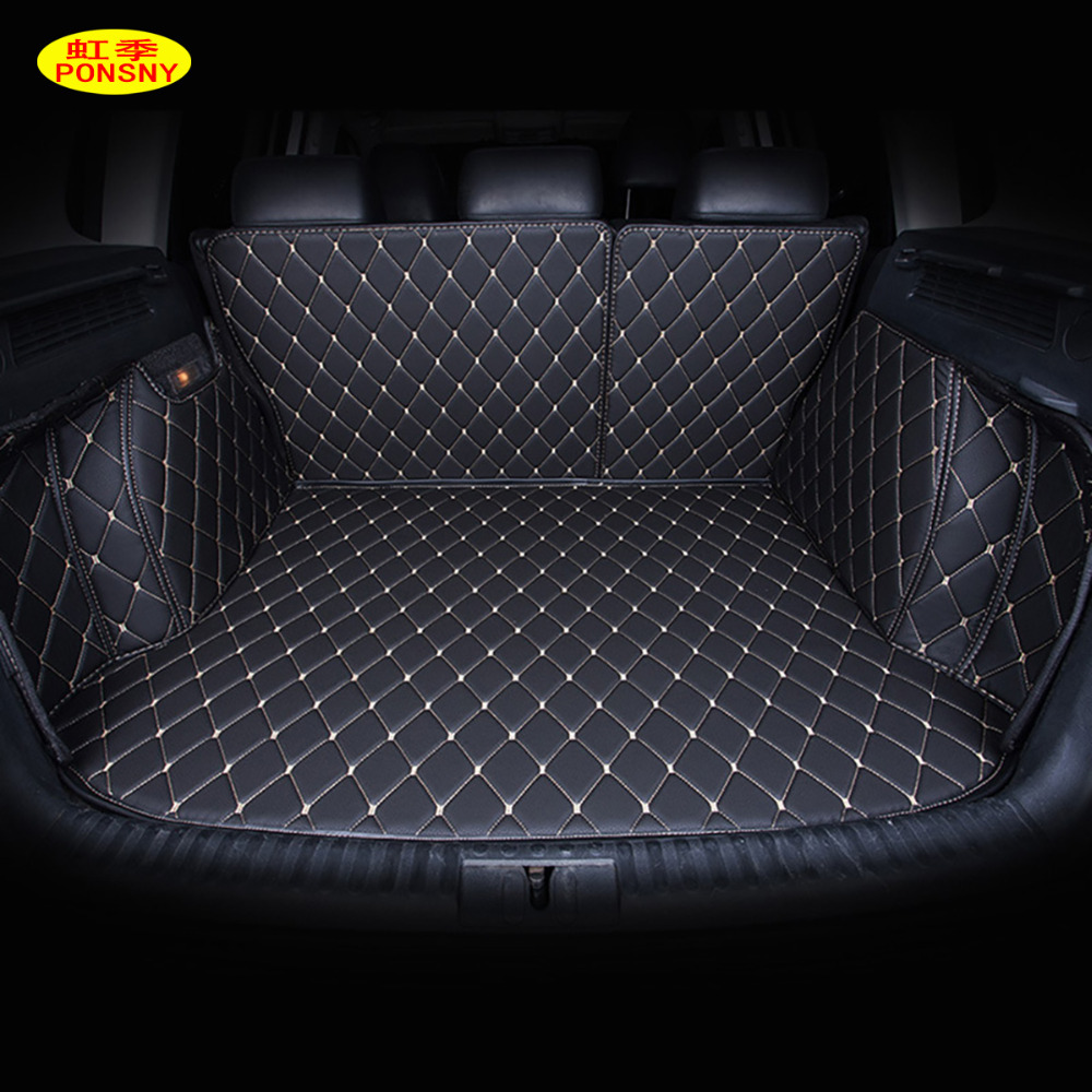 PONSNY Car Trunk Mats Customized for Nissan Qashqai Rouge X trail Murano Tiida Sylphy Versa All Covered Trunk Carpets Liners