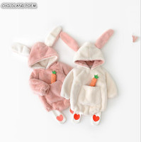 Winter Baby Rompers For Girls Jumpsuit Faux Fur Baby Clothes Infant Newborn Baby Boy Romper Rabbit Ear Hooded Baby Costume Bunny