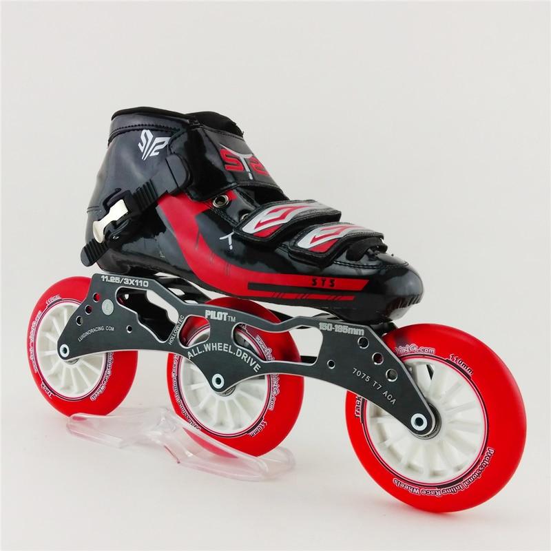 Prix pour Adultes Professionnel Inline Vitesse Patins Patin À Roulettes Enfants Inline Chaussures de Skate Patins Rouleau 3x110mm Roue Out Sports chaussures