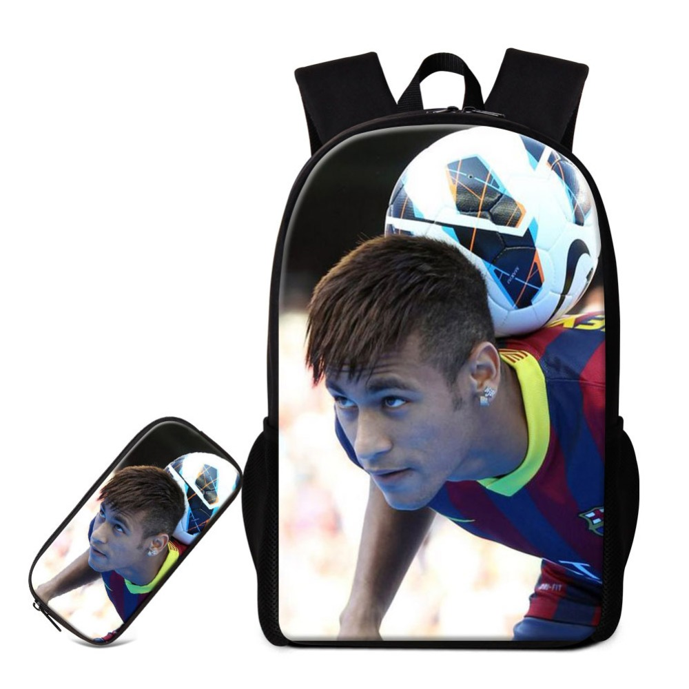 Neymar Backpack Footballs Printed School Bag For Boys Children Traveling Bookbag Soccers Pencil Case Cool Satchel Mochila Girls