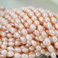 Romantic Natural Cultured Orange Approx Rice Beads Fashion Women Weddings Hot Sale Gift Jewelry Making 15inch