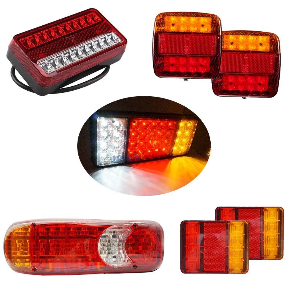 2Pcs Waterproof Car 8 19 20 26 36 46 LED Tail Light Rear Lamps Pair Boat Trailer 12V/24V Rear Parts For Trailer Truck Car Light