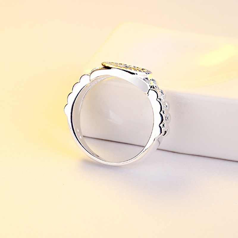 OMHXZJ Bán Buôn Thời Trang Cá Tính OL Người Phụ Nữ Cô Gái Bên Món Quà Cưới Bạc Vòng 925 Sterling Silver Ring RN272