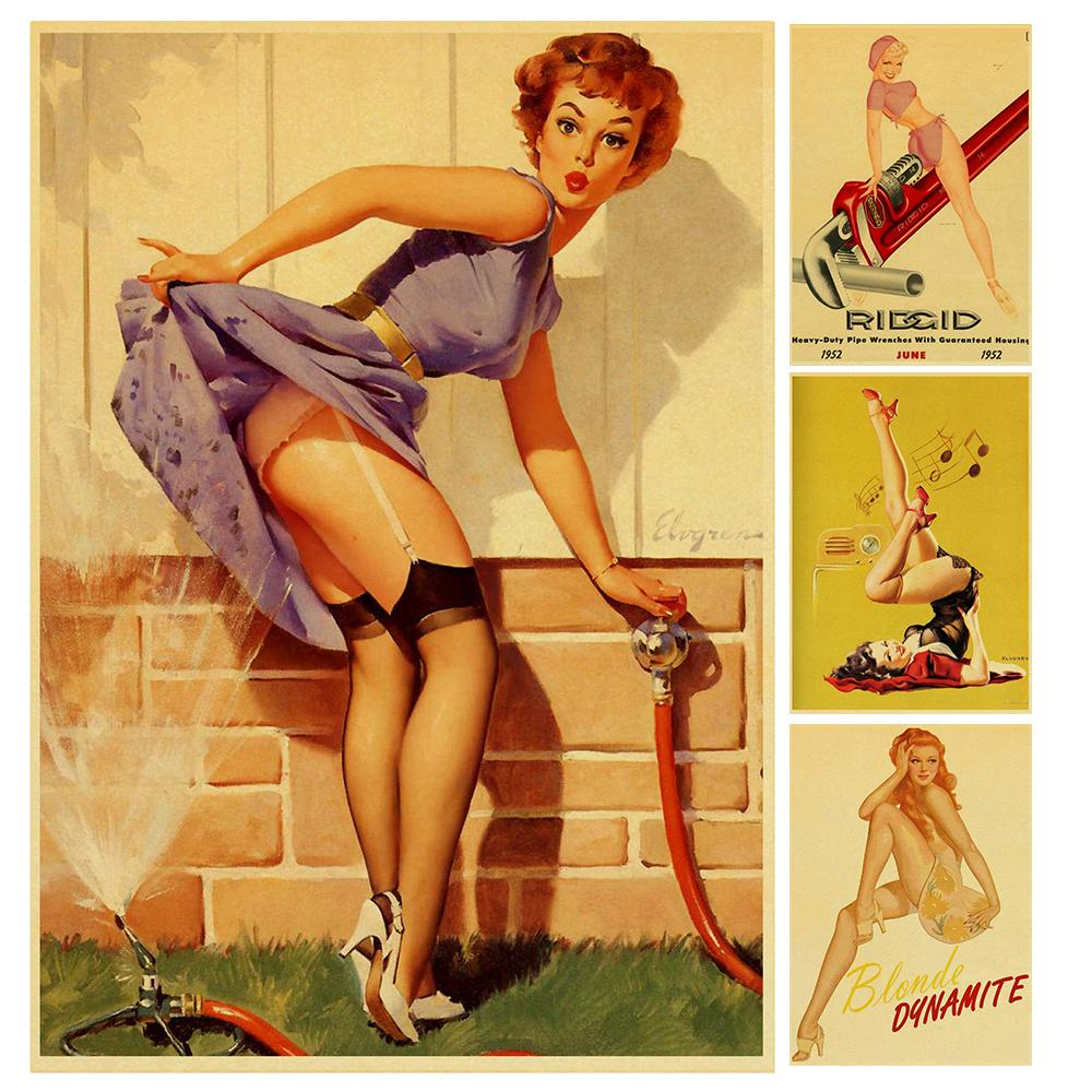 Vintage Poster Wall-Decor Cafe Girl Sexy For Home-Bar Pin-Up High-Quality