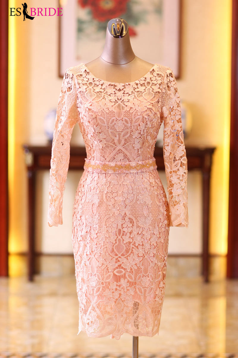 2019 Formal Dress Women Elegant Evening Dress Simple Vintage Special Occasion Dresses Lace Long Sleeve Formal Dresses ES2342