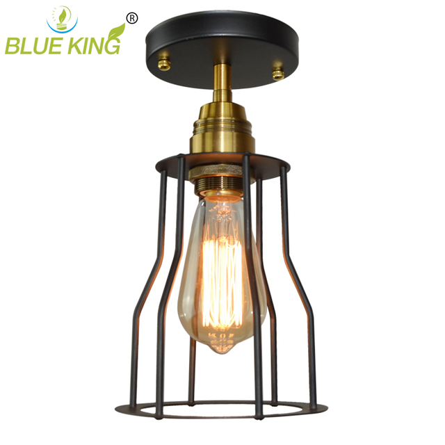 Cottage Style Vintage Industrial Balcony Ceiling Lights With Antique Copper Lamp Holder Filament Fixture