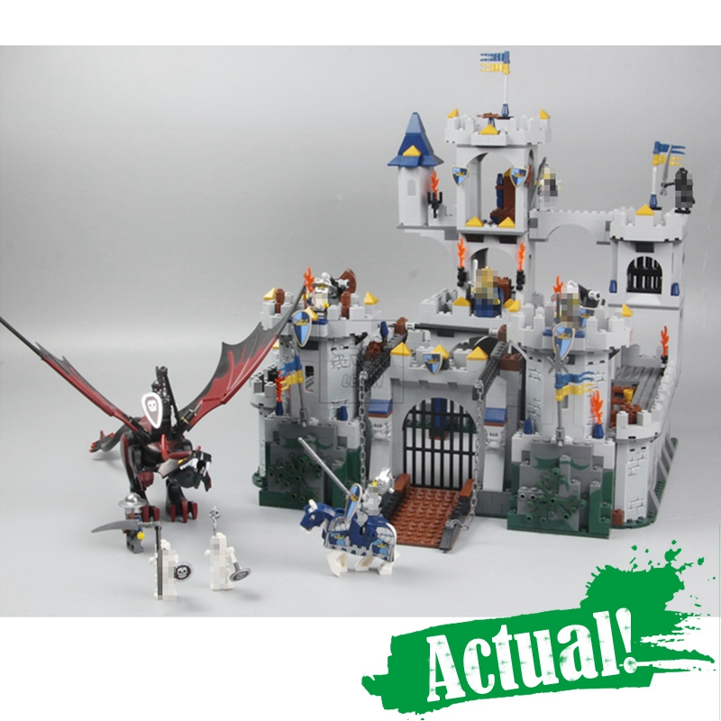 Lepin 16017 Fantasy Era King`s Castle Siege Dungeon Dragon Knights Skeletons Building Blocks Bricks Toy For Kids Compatible 7094 classic movie series king castle siege review building block mini ghost archer figures dark fiery dragon lepine bricks 7094 toys