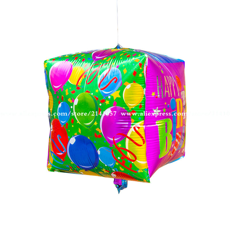 New arrival 20pcs/lot square cube happy birthday foil mylar balloons happy birth
