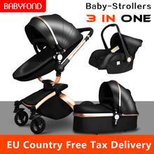 Роскошная детская коляска babyfond 3 в 1 из искусственной кожи